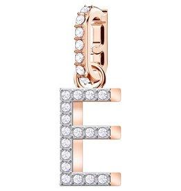 Swarovski E Alphabet Charm, Crystal and Rose Gold Plated