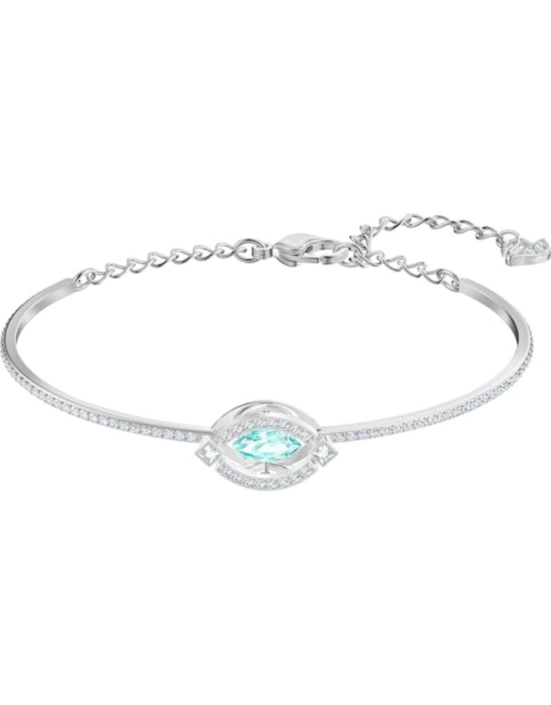Swarovski Sparkling Dance Bangle, Aqua, Rhodium Plated