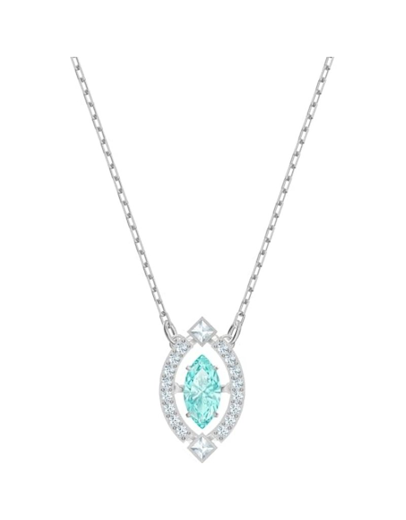 Swarovski Sparkling Dance Necklace, Aqua, Rhodium Plated