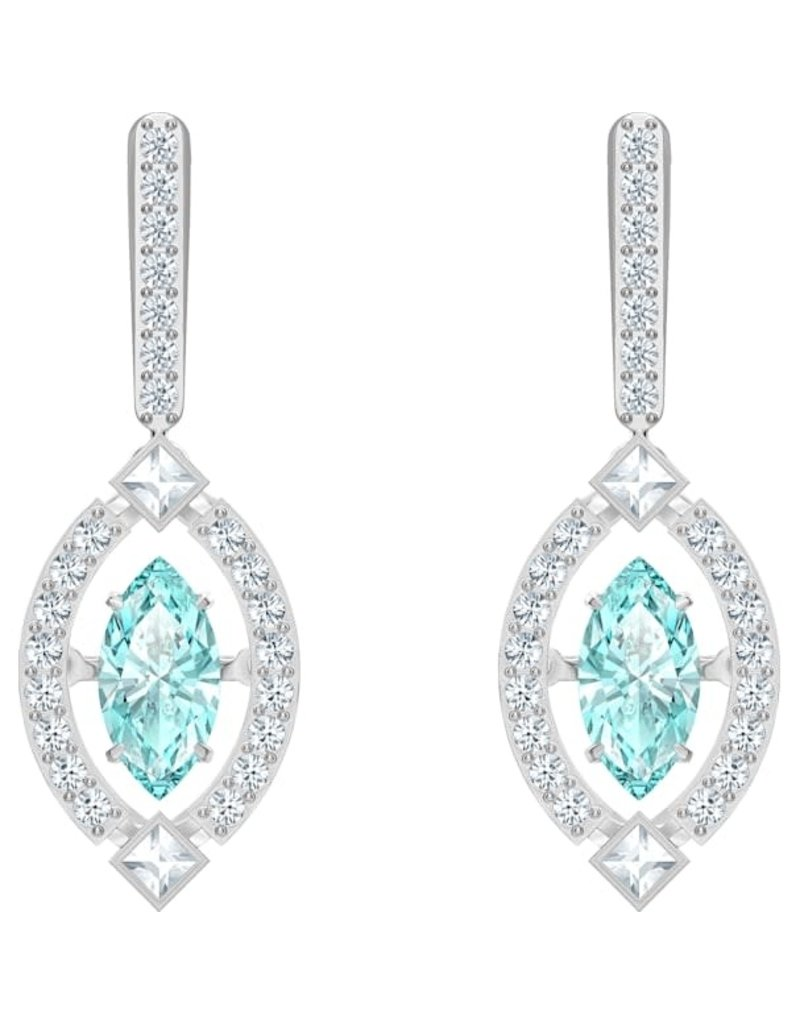 Swarovski Sparkling Dance Pierced Earrings, Green, Rhodium Plated