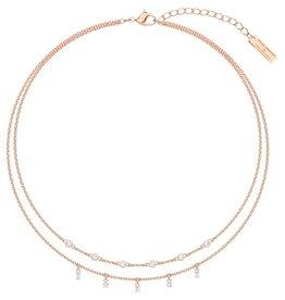 Swarovski Penelope Cruz Moonsun Double Necklace, White, Rose Gold Plated