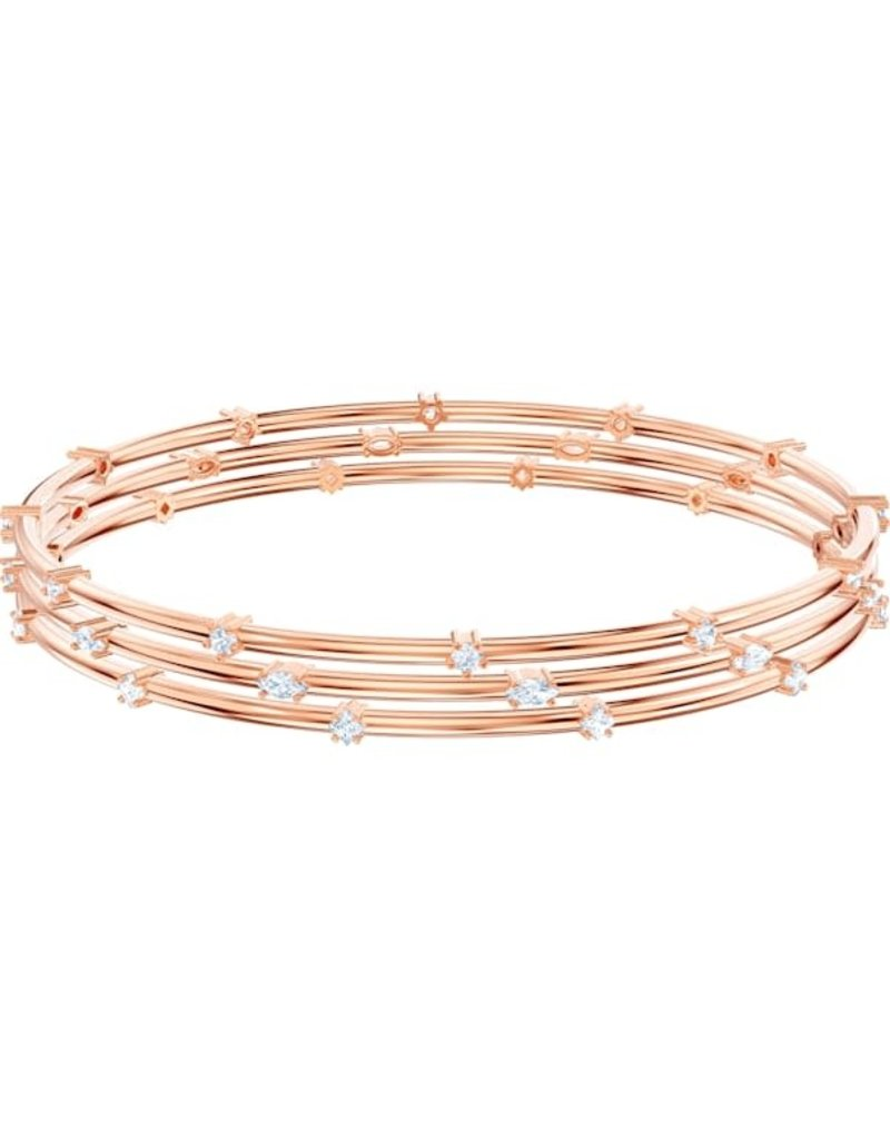 Swarovski Penelope Cruz Moonsun Cluster Bangle, White, Rose Gold Plated (M)