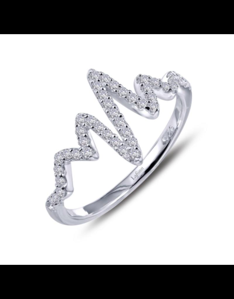 Lafonn SS Platinum .45 CTTW Heartbeat Ring 6