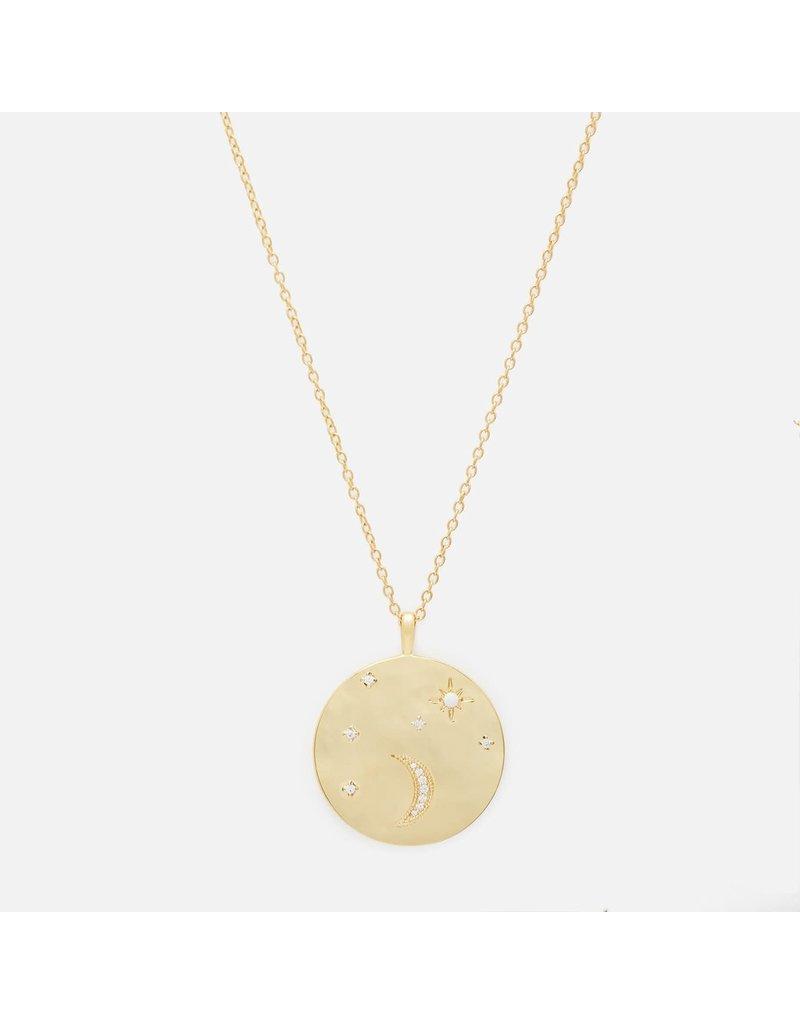 Gorjana Luna Coin Pendant Necklace Gold-White Opalite