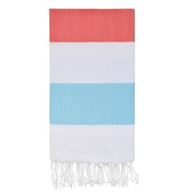 Olive and Loom Doria Beach Towel - Coral and Mint
