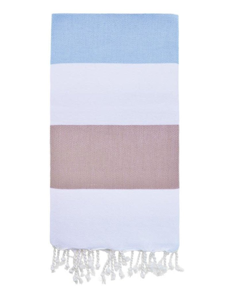 Olive and Loom Doria Beach Towel - Blue and Coffee