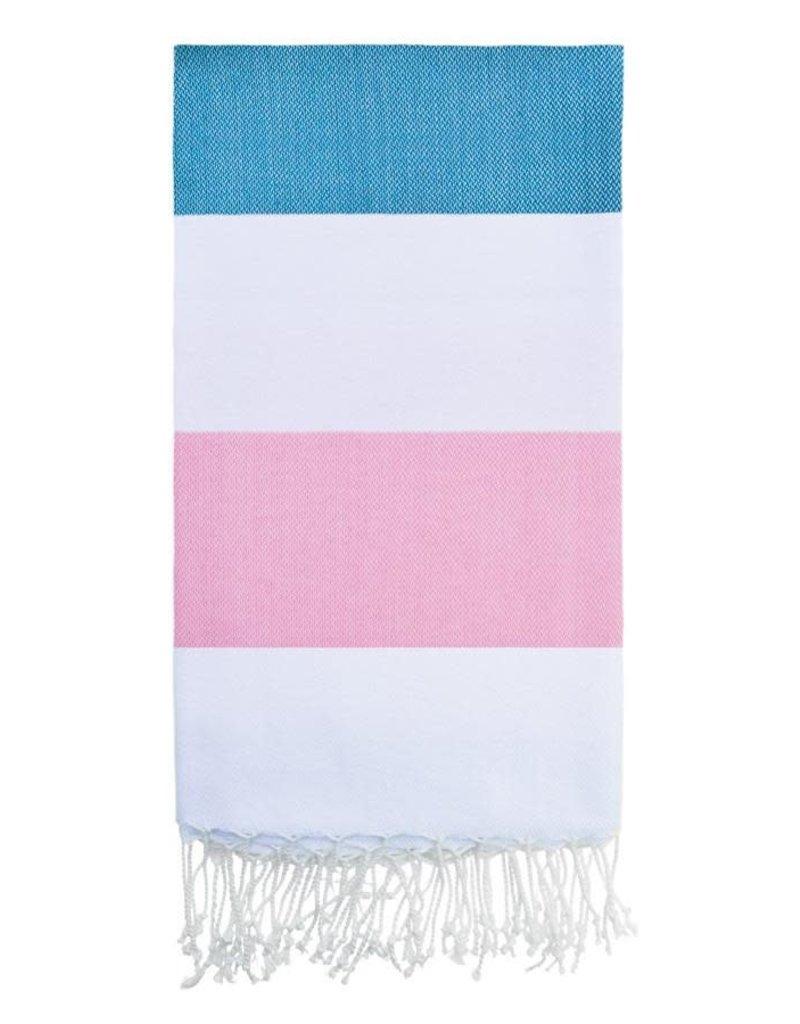 Olive and Loom Doria Beach Towel - Aqua and Pink