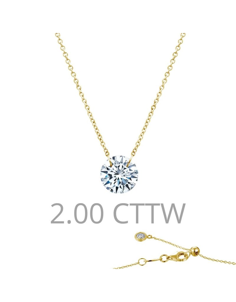 Lafonn SS Platinum Lassiare In Motion Single Stone Necklace with 14K Gold Componants, 2CTTW