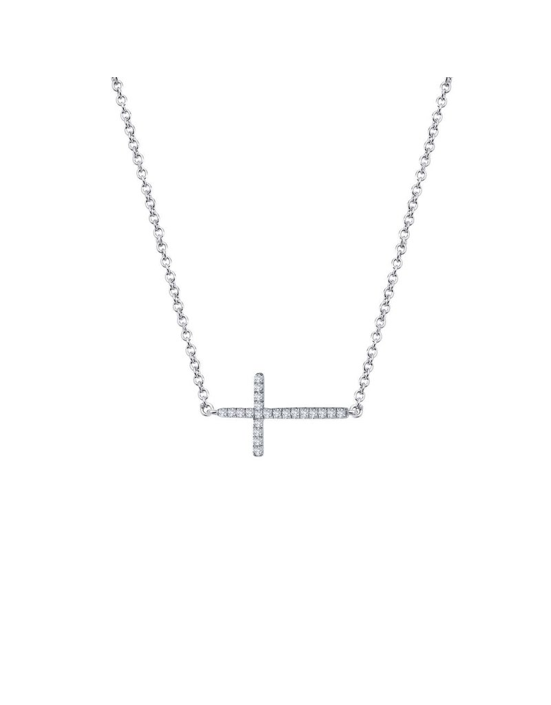 Lafonn Simulated Diamond Sterling Silver Bonded With Platinum 18'' Sideway Cross Necklace 22 stone 0.22 CTTW