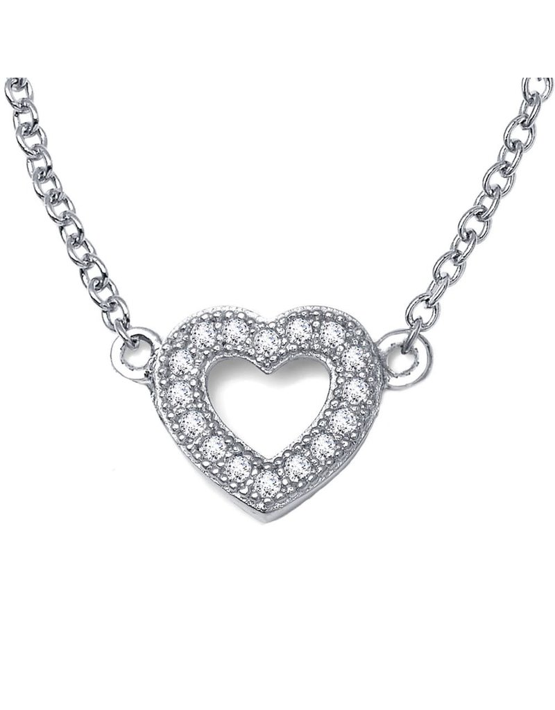 Lafonn Simulated Diamond Sterling Silver Bonded With Platinum Small Heart NK 18'' 18 Stone 0.18 CTTW