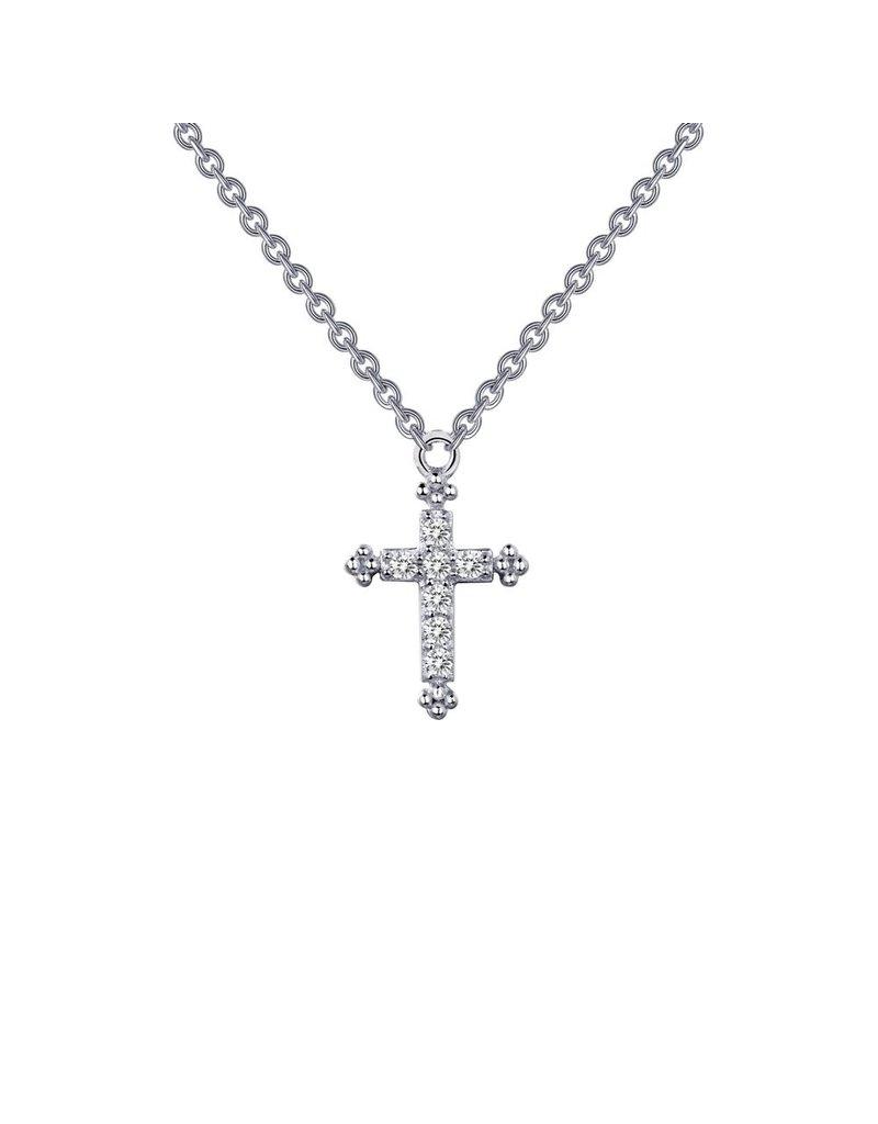 Lafonn SS Platinum Small Cross .07 CTTW 18'' Necklace