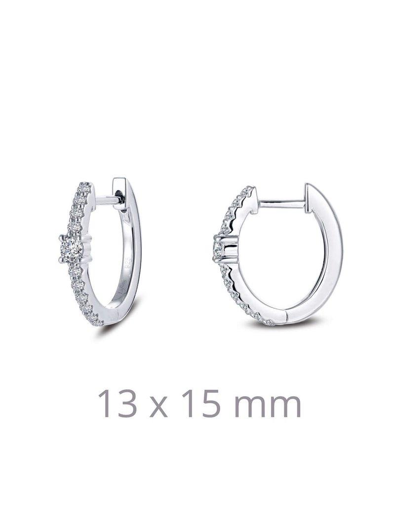Lafonn Sterling Silver Oval Huggie Earrings pt 0.30 cttw