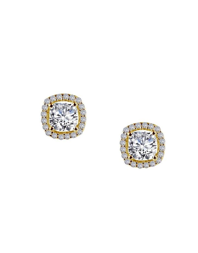 Lafonn Classic Earrings Simulated Diamond Gold Plating CTTW 1.52