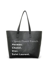 Tote Bag-Fluent French- Vegan Leather Tote