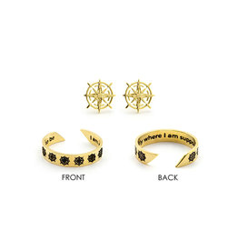 Laura Janelle Mantra Ring & Earring Set - I Am Exactly Where I Am Supposed To Be (Gold)