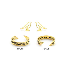 Laura Janelle Mantra Ring & Earring Set - Let Go Of What You Can Not Change (Gold)
