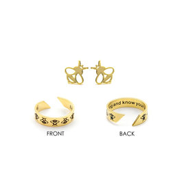 Laura Janelle Mantra Ring & Earring Set - Be Strong & Know Your Worth (Gold)