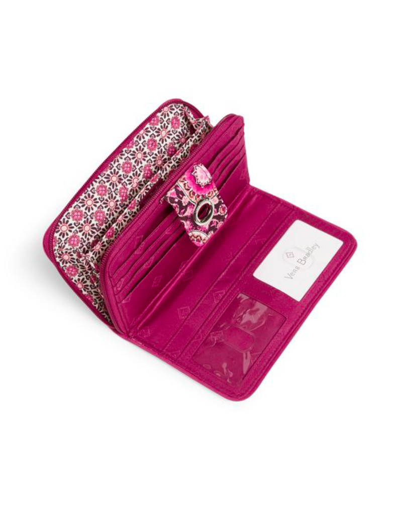 Vera Bradley Iconic RFID Turnlock Wallet Raspberry Medallion