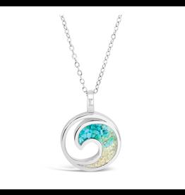 Dune Jewelry Wave Necklace, Turquoise and Jones Beach Gradient