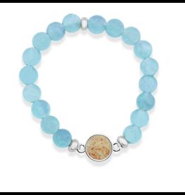 Dune Jewelry Round Beaded Bracelet, Aquamarine, Fire Island