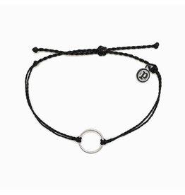 Pura vida Silver Circle Bracelet, Black