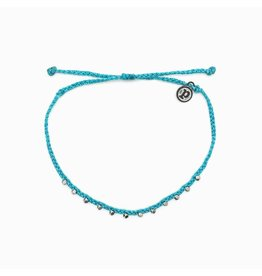 Pura vida Stitched Bead Anklet, Pacific Blue