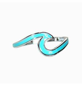 Pura vida blue enamel wave ring