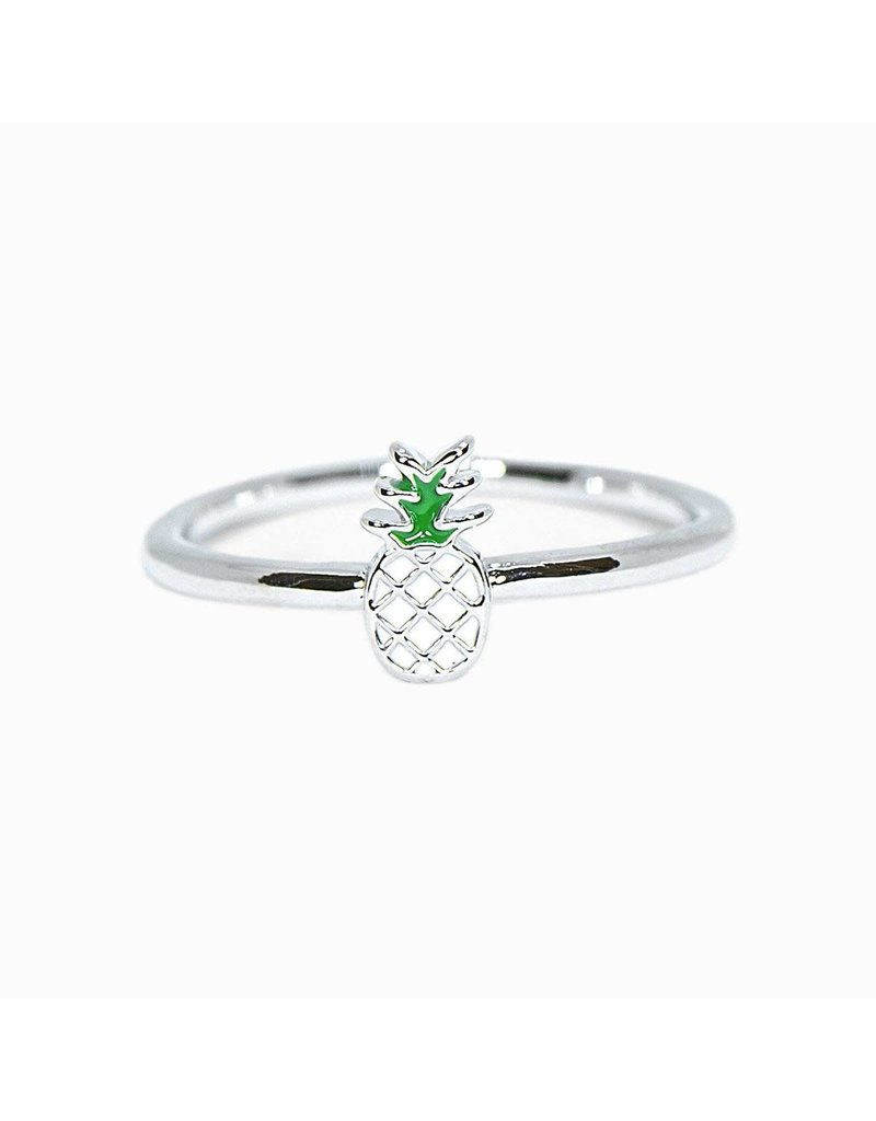 Pura vida silver pineapple enamel ring