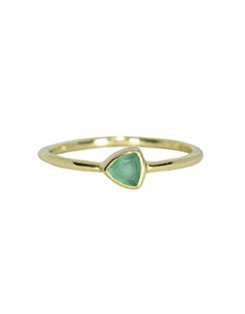 Pura vida gold triangle stone ring