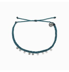Pura vida Silver Mini Coin Anklet - Teal