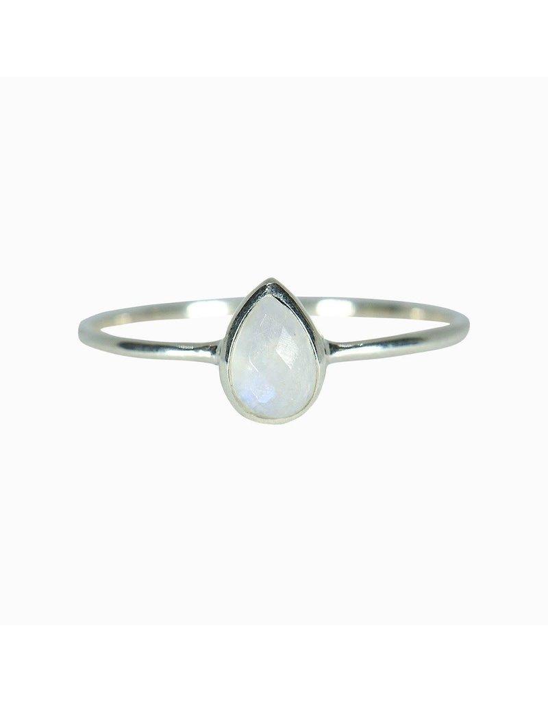 Pura vida moonstone teardrop ring silver