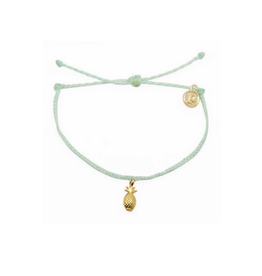 Pura vida Gold Pineapple Bracelet, Seafoam