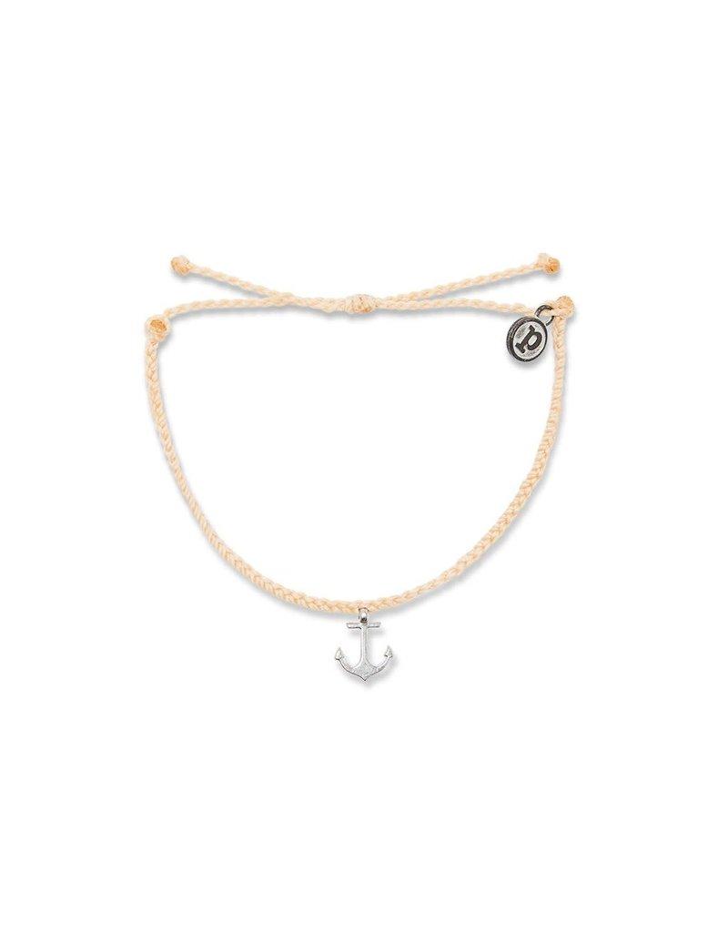 Pura vida Silver Anchor Bracelet, Cream