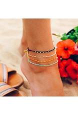 Pura vida Gold Stitched Beaded Anklet - Blush