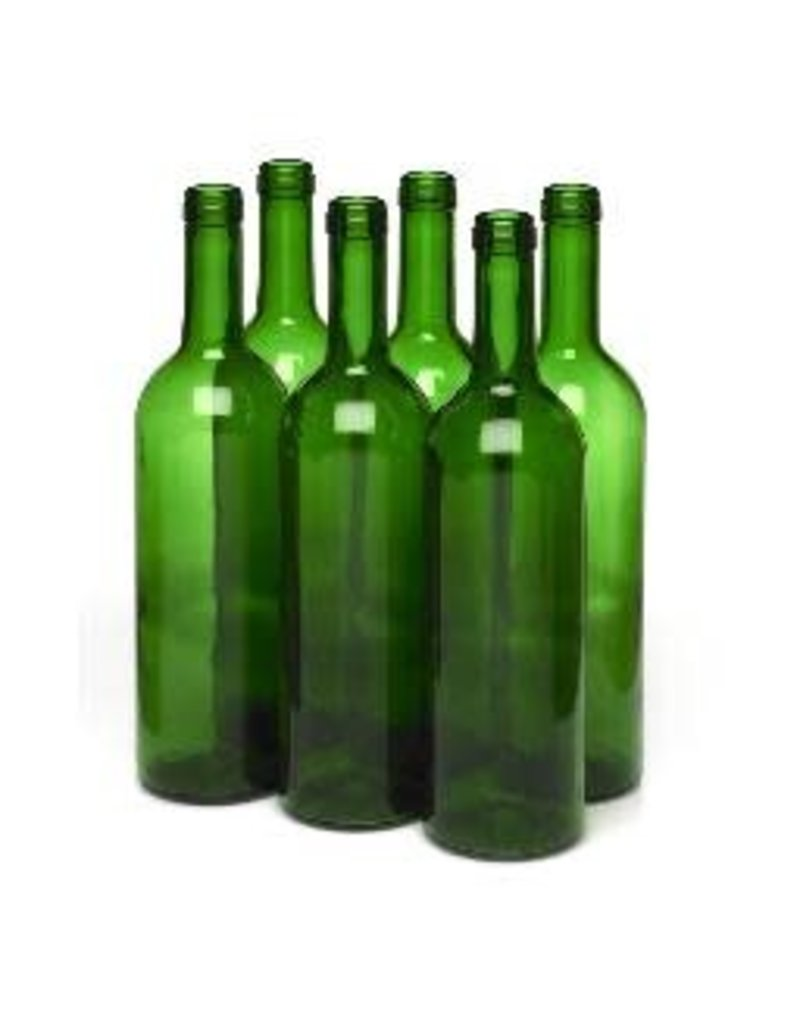 750 ml CHAMPAGNE GREEN BORDEAUX FLAT BOTTOM WINE BOTTLE 12/CASE