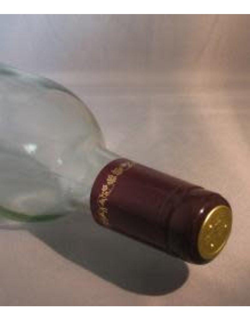 BURGUNDY/GOLD GRAPES PVC SHRINK CAPSULES 30/BAG