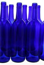 750 ml COBALT BLUE BORDEAUX BOTTLES CORK FINISH 12/CASE