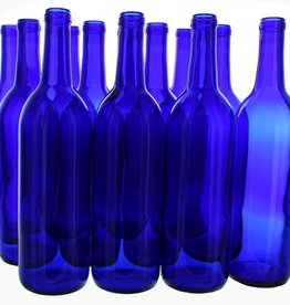 750 ml COBALT BLUE BORDEAUX BOTTLES CORK FINISH 12/CASE