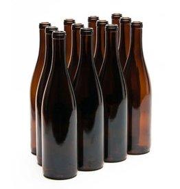 750 ml WINE BOTTLES AMBER CALIFORNIA HOCK