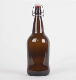 AMBER E-Z CAP BOTTLES, LITRE - 12 / CASE WITH CAPS