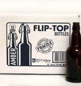 FLIP TOP/CAP BOTTLES- 16 oz. AMBER
