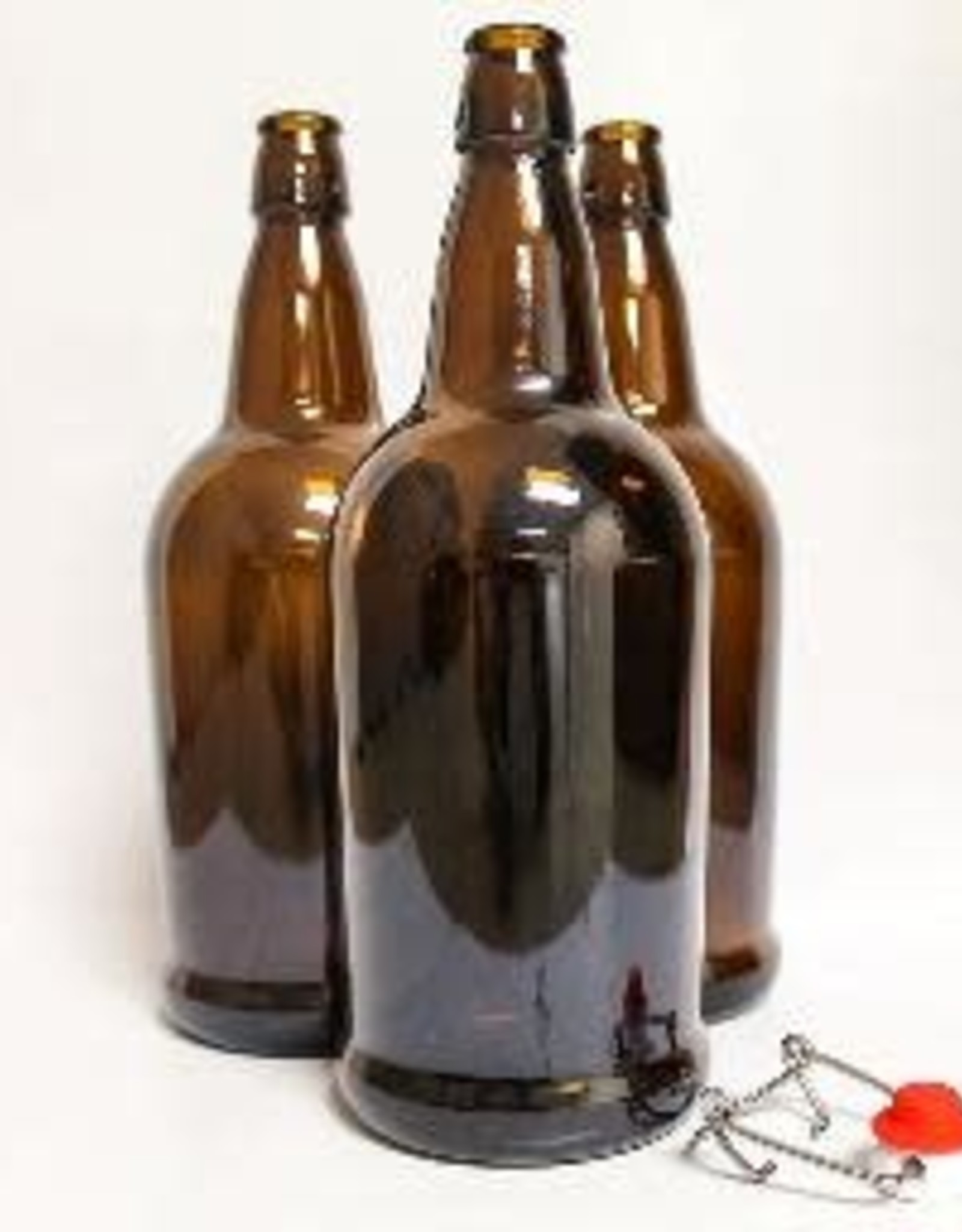 1 LITER AMBER FLIP-TOP BOTTLES 12/CASE