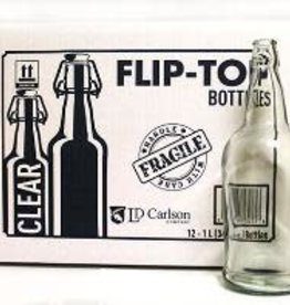 1 LITER CLEAR FLIP-TOP BOTTLES 12/CASE