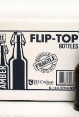 16 OZ AMBER FLIP-TOP BOTTLES 12/CASE