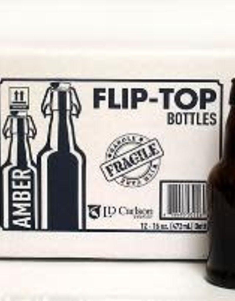 16 OZ AMBER FLIP-TOP BOTTLES 12/CASE