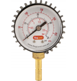 KEG LAND Push-In Pressure Gauge (0-40 psi)
