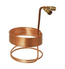 "Water Efficient Immersion Wort Chiller (25' x 3/8"" With Brass Fittings)"