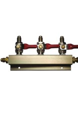 "3-Way Gas Distribution Manifold with 1/4"" MFL Shutoffs"
