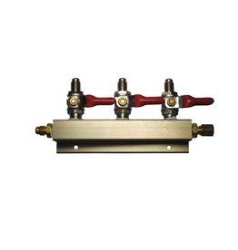 "3-Way Gas Distribution Manifold with 1/4"" MFL Shutoffs"