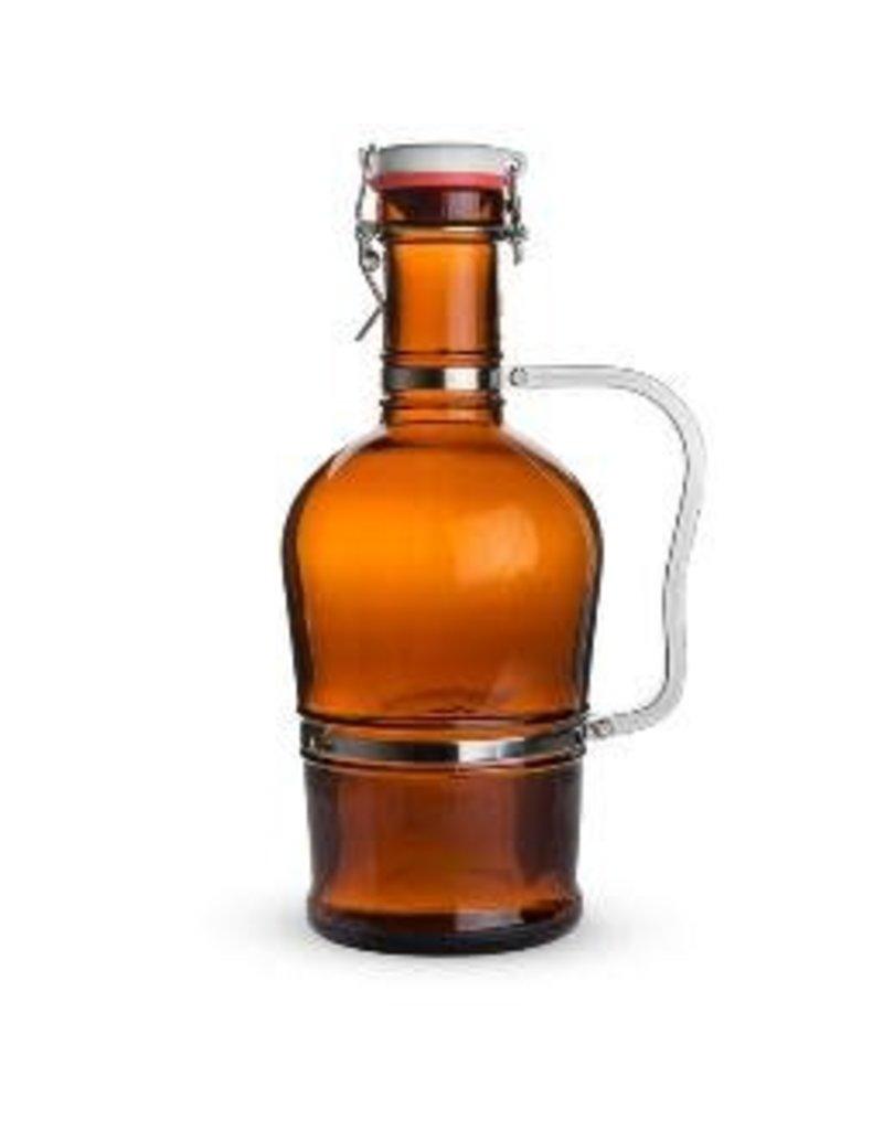 GROWLER- GLASS 2 LITER W/METAL HANDLE
